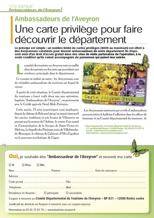 TOURISME Ambassadeurs De LAveyron Une Carte Privilge Pour Faire Dcouvrir Le Dpartement Principe Est Simple Un Nombre