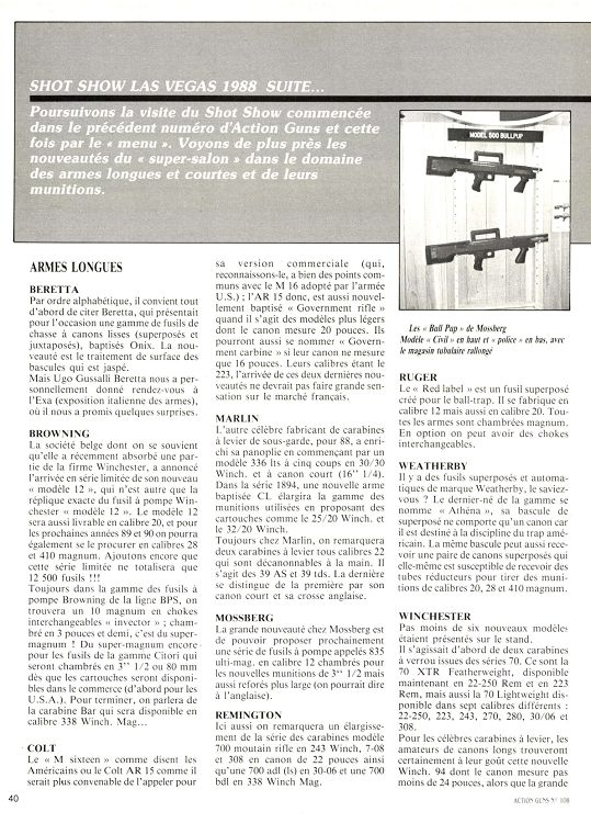 97c6697395b Action Armes   Tir n°108 avril 1988 - Page 40 - 41 - Action Armes ...