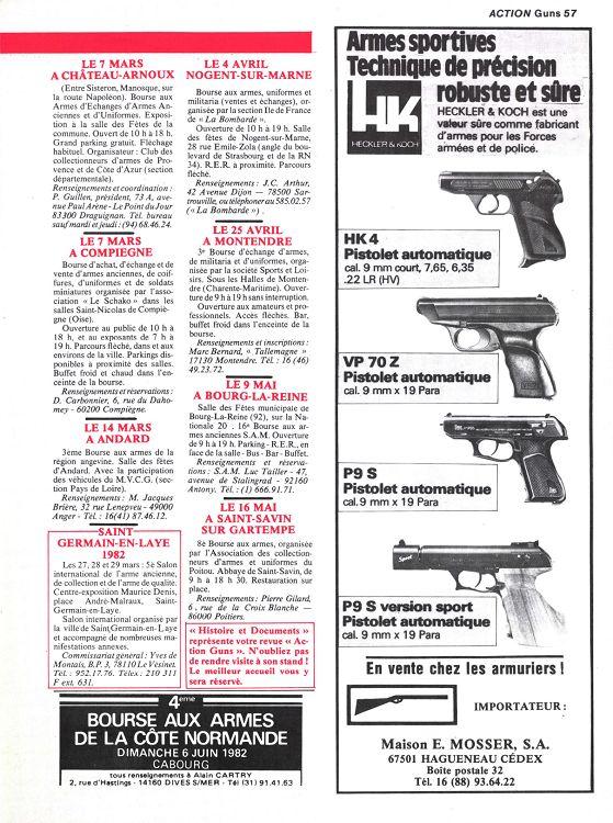 Calendrier Bourse Aux Armes 2022 Action Armes & Tir n°39 février 1982   Page 56   57   Action Armes