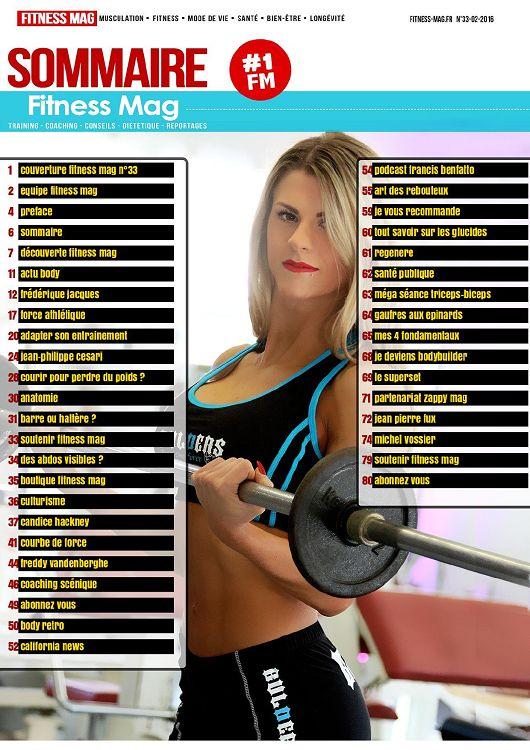 92cfba78b91 1 2 4 6 couverture Fitness mag n°33 54 podcast ! rancis benlatto equipe fitness  mag pretace sommaire découverte Mess mag 11 actu body 12 Irédérique laques  ...