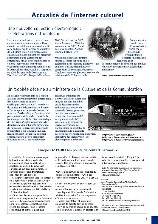 Culture Et Recherche N 95 Mar Avr 2003 Page 2 3 Culture Et