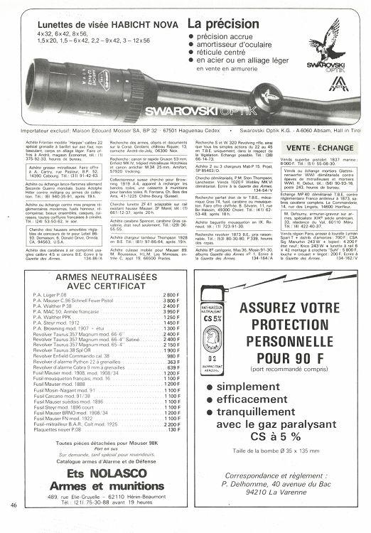 Armes 47 Page N°134 1984 Gazette Des Octobre 46 kZiOuPX