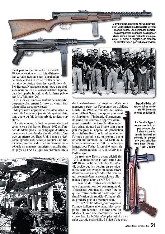 Modèle Italien 38//42 Pistolet Mitrailleur Italien BERETTA classique arme à feu carte photo