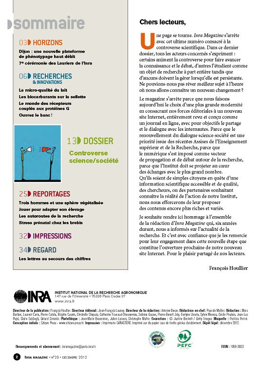 inra magazine n 23 d cembre 2012 page 2 3 inra. Black Bedroom Furniture Sets. Home Design Ideas