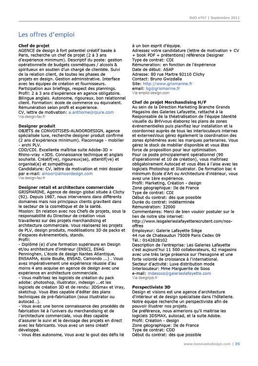 La Revue Du Design N 7 Septembre 2011 Page 34 35 La