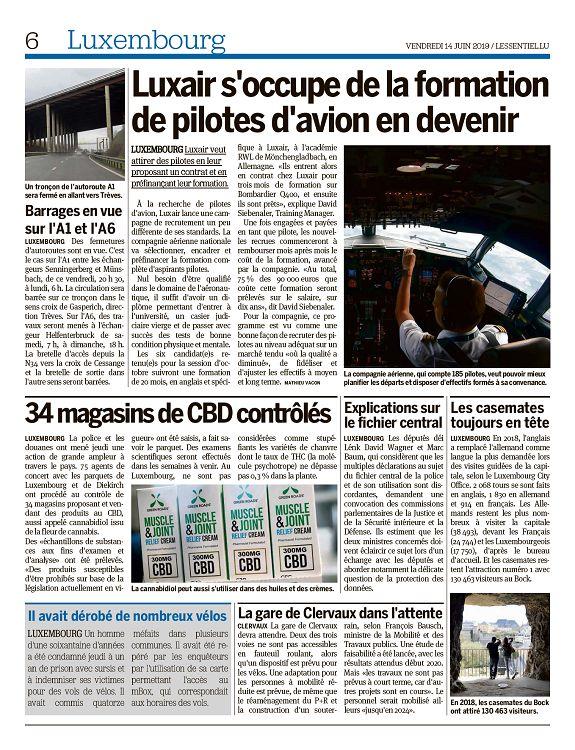 L'essentiel Luxembourg n°2696 14 jun 2019 Page 6 7 L