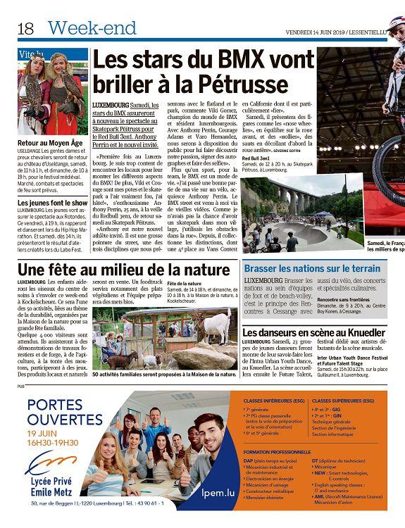 L'essentiel Luxembourg n°2696 14 jun 2019 Page 1 L