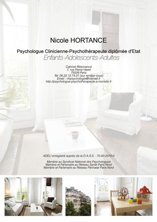 Nicole hortance psychologue clinicienne psychothérapeute diplômée detat enfants adolescents adultes cabinet résonance 7 rue pierre haret 75009 pans te