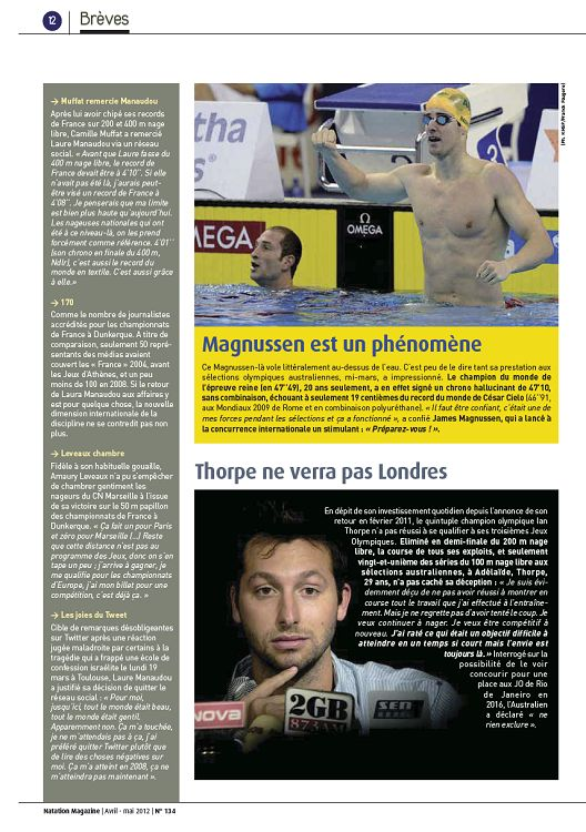 37260b588e Natation Magazine n°134 avril/mai 2012 - Page 24 - 25 - Natation ...