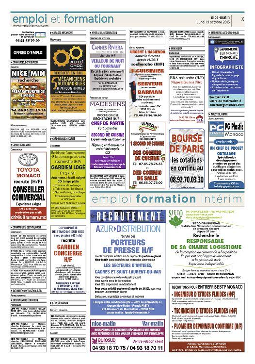 Emploi et formation cm pbh farmatilon www emploi nicematin com particuliers passer votre annonce et payer par 04 93 18 70 00 offres demploi e commerces