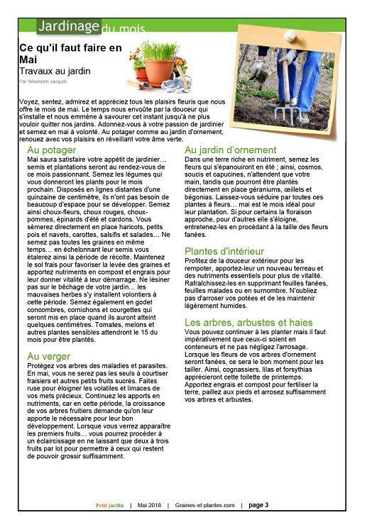 Calendrier Lunaire Graines Et Plantes Mai 2019.Petit Jardin N 135 Mai 2018 Page 2 3 Petit Jardin N