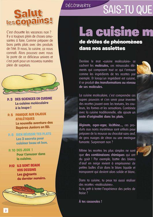 Rep res juniors n 4 jui ao sep 2012 page 2 3 - Comment faire de la cuisine moleculaire ...