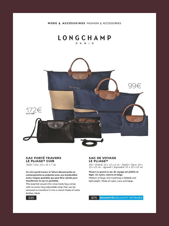 sac longchamp pliage air france