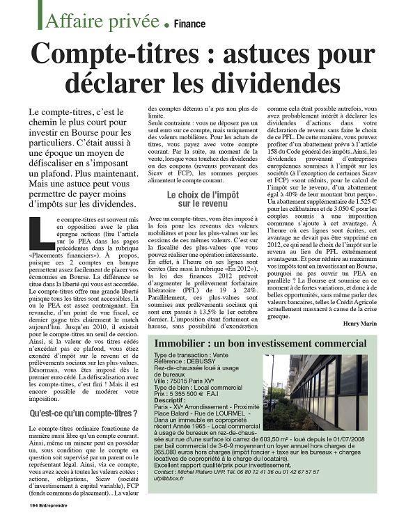 Entreprendre N 261 Juin 2012 Page 194 195 Entreprendre N 261