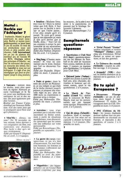 Jeux Strategie N 5 Mars 1990 Page 6 7 Jeux Strategie N 5