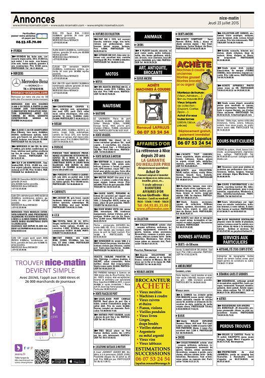 Annonces www immo nicematin com www auto nicematin com www emploi nicematin com particuliers 731 passer votre annonce et payer par 04 93 18 70 00 e