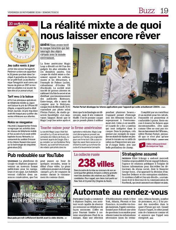 20 Minutes Geneve N 2018 11 23 Vendredi Page 18 19 20