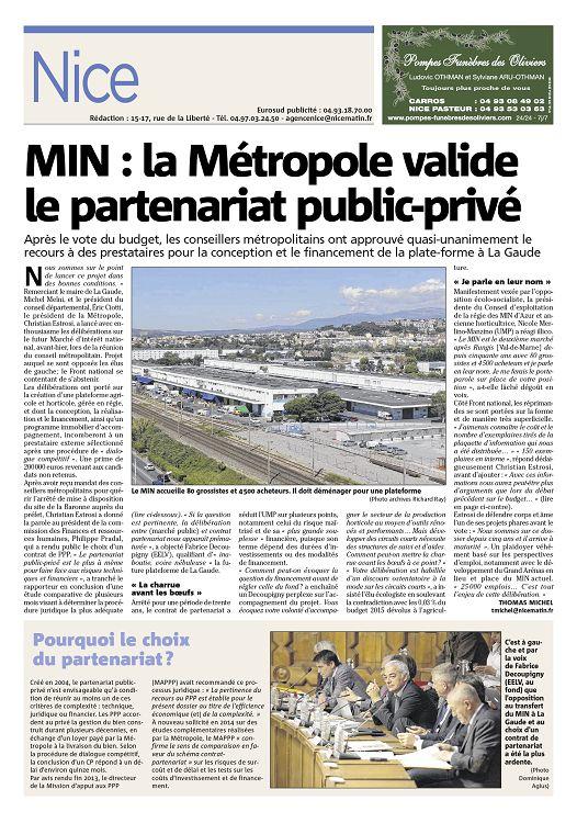 2015-04-15: MIN : la Métropole valide le PPP partenariat public-privé -Nice-Matin